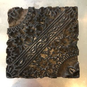 Antique carved wood hand held textile stamp.